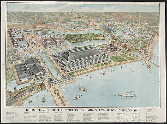 Bird's-eye view of the World's Columbian Exposition, Chicago, 1893