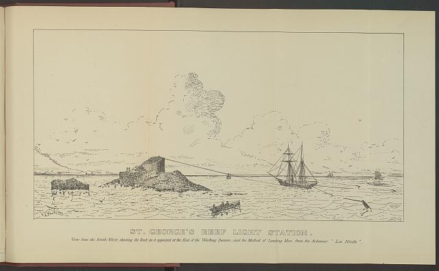 "St. George's Reef light station, View from the South-West, showing the rock as it appeared at the end of the working season, and the method of landing men from the Schooner ""La Ninfa"""