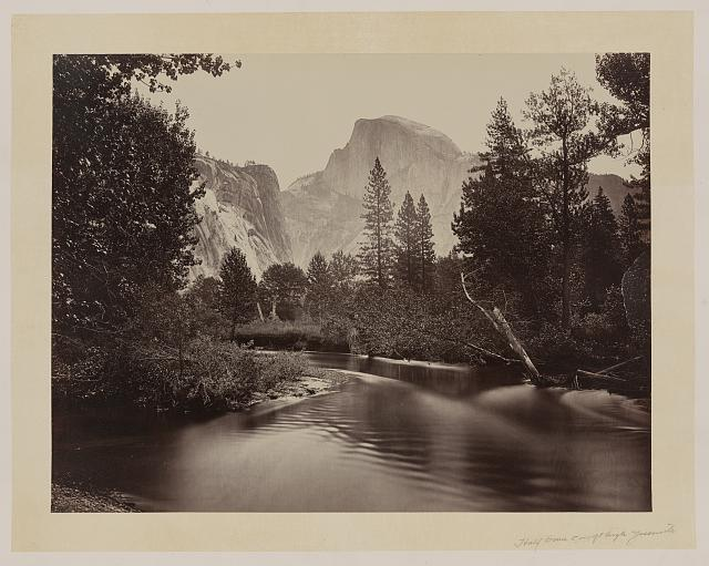 [Stream and trees with Half Dome in background, Yosemite Valley, Calif.]