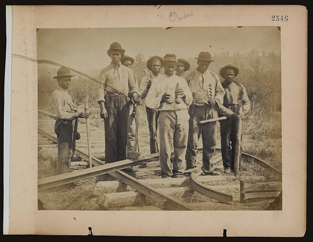 [Military railroad operations in northern Virginia: men standing on railroad track]