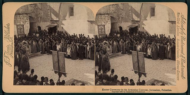 Easter ceremony in the Armenian convent, Jerusalem, Palestine
