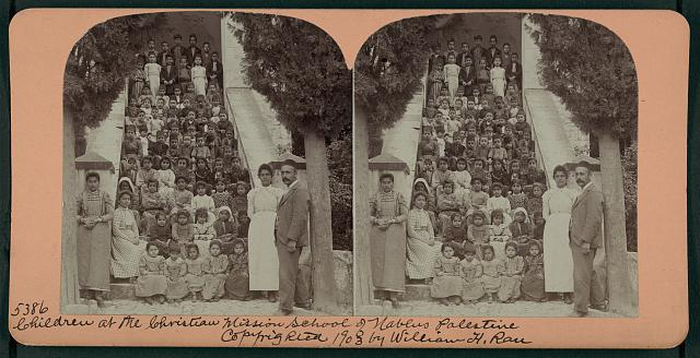 Children at the Christian Mission School of Nablus, Palestine