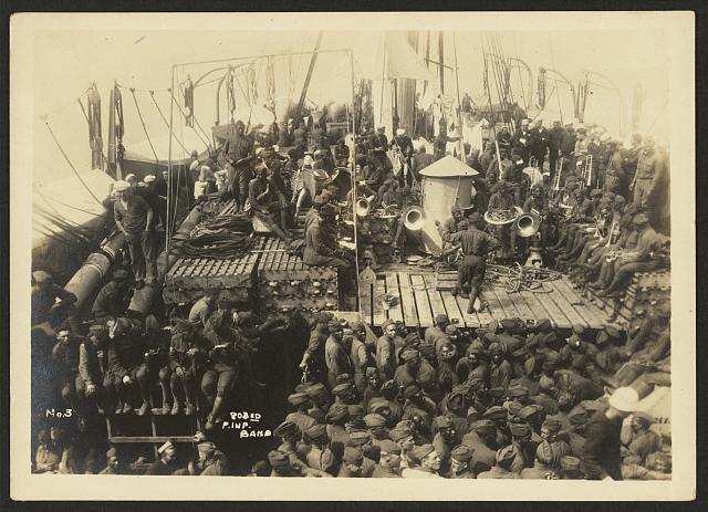 [803rd Pioneer Infantry Battalion on the U.S.S. Philippine (troop ship) from Brest harbor, France, July 18, 1919]. no. 3, 803rd P. Inf. Band