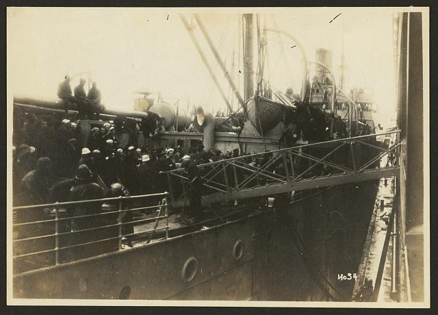 [803rd Pioneer Infantry on the U.S.S. Philippine (troop ship), from Brest harbor, France, July 18, 1919]. no. 34