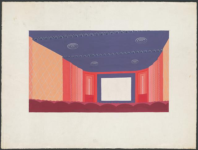 [Design proposal for a motion picture theater interior, possibly in New York City. Interior perspective view]