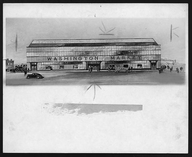 [Architectural drawing of the new Washington Market]