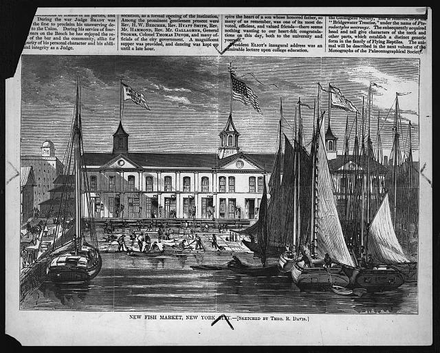 New fish market, New York City (sketched by Theo. R. Davis)