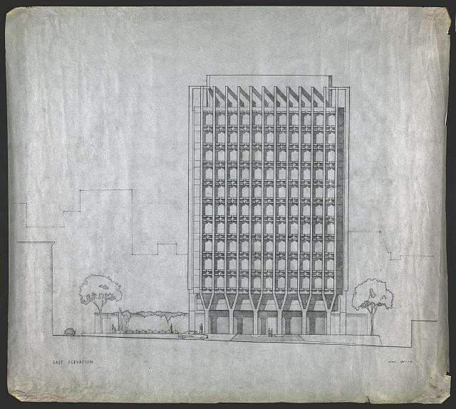 [Blue Cross-Blue Shield Headquarters, Boston, Massachusetts. East elevation. Early scheme with pergola]