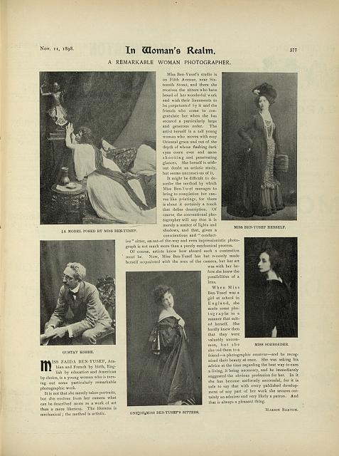 [Magazine page showing five of Zaida Ben-Yusuf's photographs]