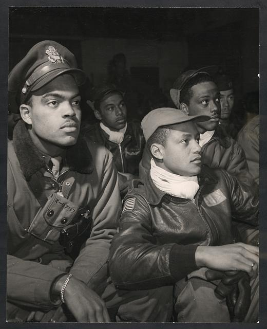 [Members of the 332nd Fighter Group attending a briefing in Ramitelli, Italy, March, 1945]