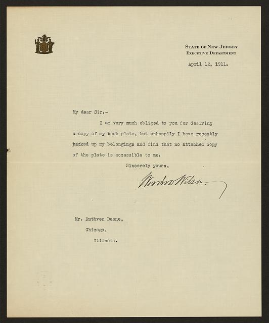 [Letter from Woodrow Wilson to Ruthven Deane about bookplates]