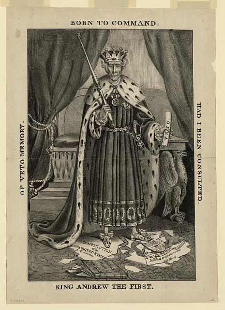 A caricature of Andrew Jackson as a despotic monarch