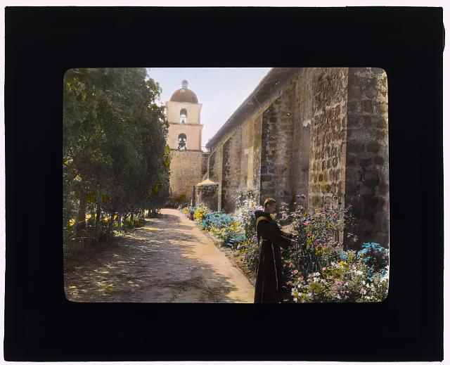 [Santa Barbara Mission, 2201 Laguna Street, Santa Barbara, California. Friar in the garden court]
