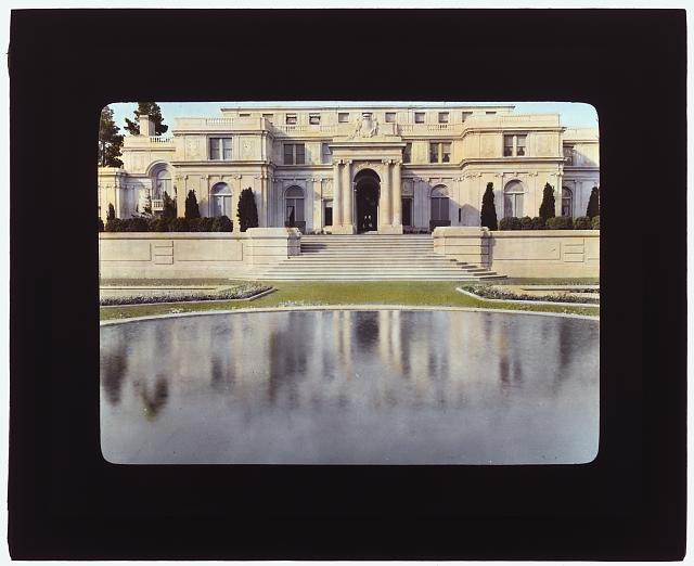 "[""Uplands,"" Charles Templeton Crocker house, 400 Uplands Drive, Hillsborough, California. View to porte cochère terrace across reflecting pool]"