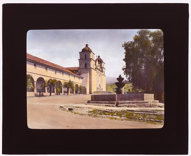 [Santa Barbara Mission, 2201 Laguna Street, Santa Barbara, California. Fountain and entrance façade]
