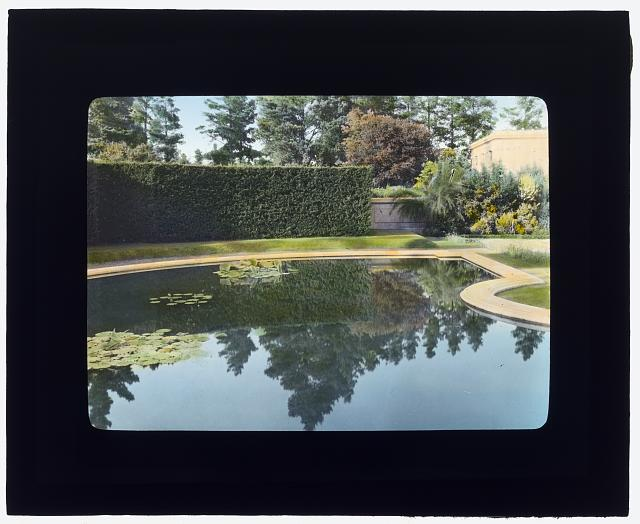 "[""Uplands,"" Charles Templeton Crocker house, 400 Uplands Drive, Hillsborough, California. Reflecting pool]"
