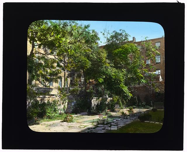 "[""Jones Wood"" townhouses, East 65th and East 66th Streets between Lexington and Third Avenues, New York, New York. Reflecting pool on south terrace]"