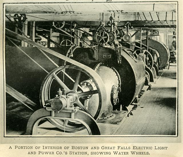 A portion of interior of Boston and Great Falls Electric Light and Power Co.'s station, showing water wheels