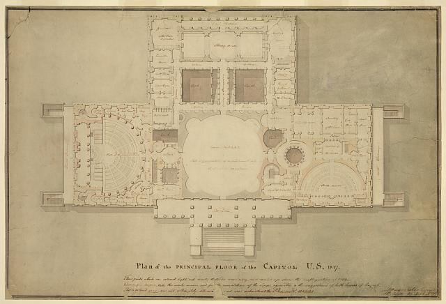 [United States Capitol, Washington, D.C. Principle floor plan, vestibule, library & senate chamber, House of Representatives]