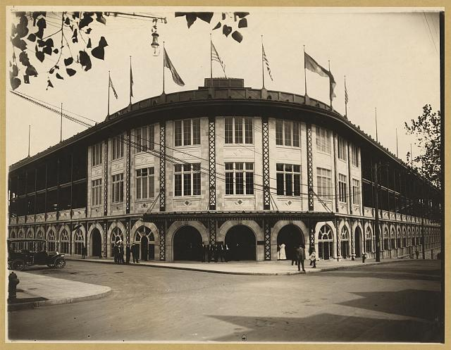 Exterior of Forbes Field, a baseball stadium, Pittsburgh, Pennsylvania
