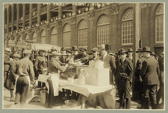 "Baseball fans--""Hot dogs"" for fans waiting for gates to open at Ebbets Field, Oct. 6, 1920"