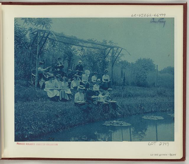[Washington, D.C. public schools field trips - 5th Division children making sketches at edge of pond]