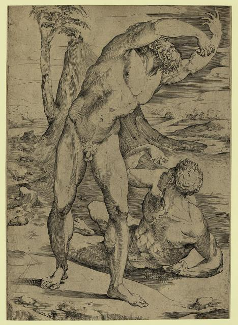 Two nude men: one standing, one reclining