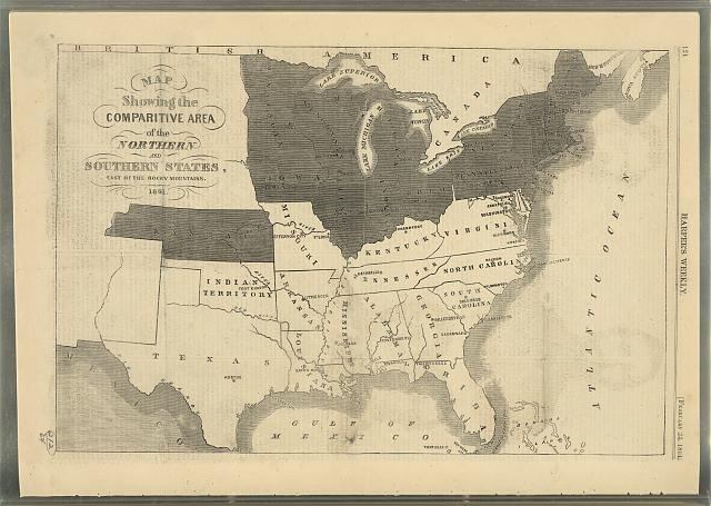 Map showing the comparitive area of the Northern and Southern states east of the Rocky Mountains, 1861