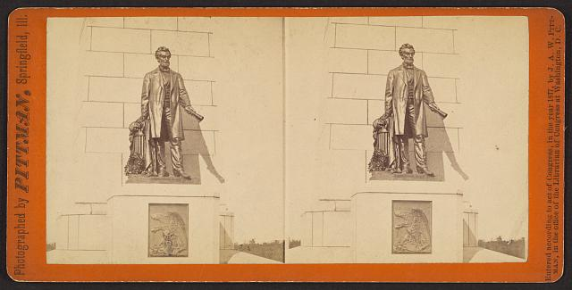 Statue of Abraham Lincoln on the National Lincoln Monument, Oak Ridge Cemetery, Springfield, Ill.