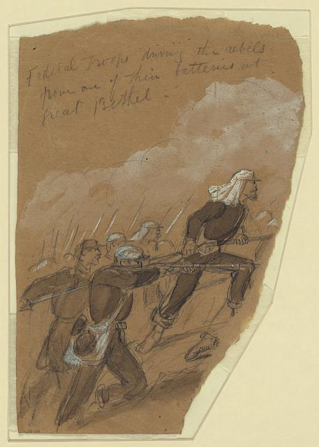 [Federal troops driving the rebels from one of their batteries at Great Bethel
