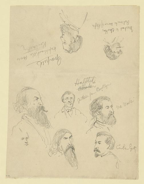 [Bust portraits of eight men]