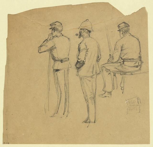 [Full-length rear-view sketches of three soldiers]