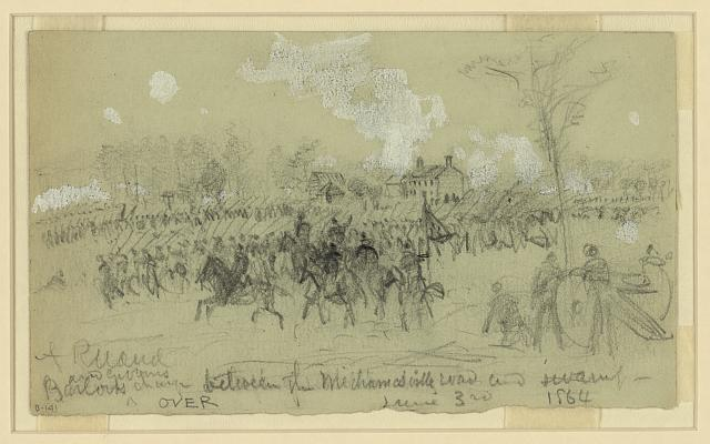 Barlow and Gibbons charge between the Mechanicsville road and swamp, June 3rd, 1864