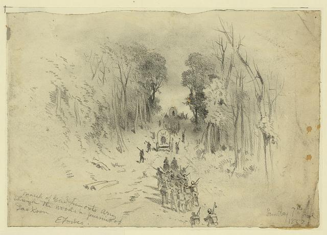 March of Genl. Fremont's army through the woods in pursuit of Jackson