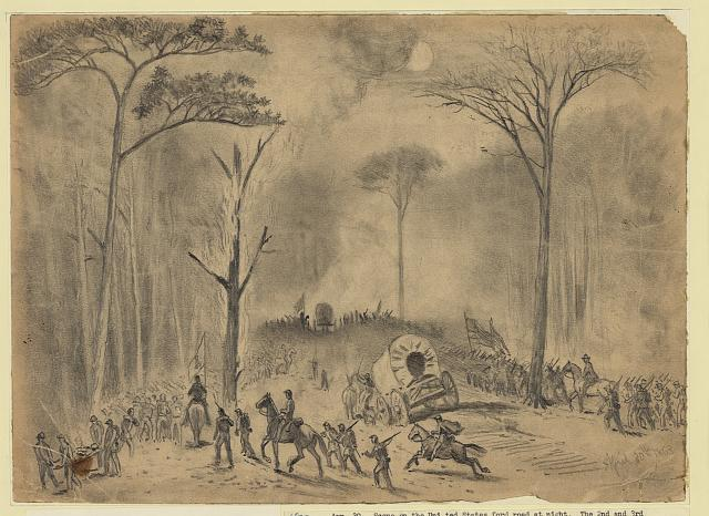 Scene on the U.S. ford road, (battle of Chancellorsville) on the night of Apr. 30, 1863