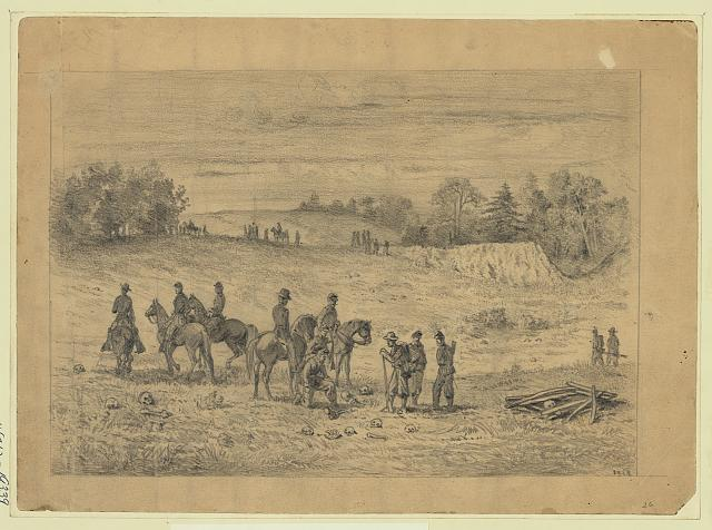 Officers and soldiers on the battlefield of the second Bull Run, recognizing the remains of their comrades