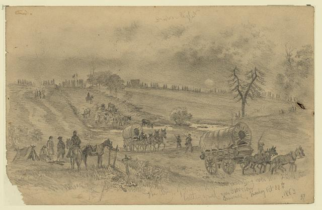 The Army of the Potomac marching over the second Bull Run battleground near Groveton