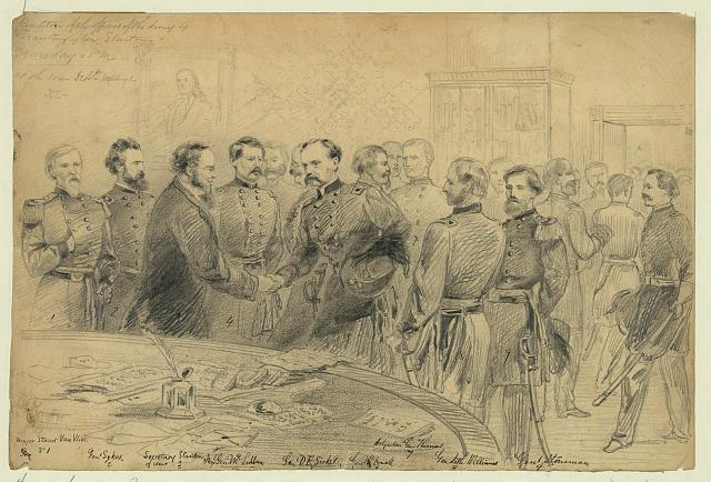 Reception of the officers of the Army by Secretary of War Stanton. Monday = PM. at the War Dept. Washington D.C.