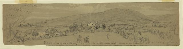 Distant view of Emmettsburg [sic], scene of the rebel horse raid; Union soldiers following up the rebel army