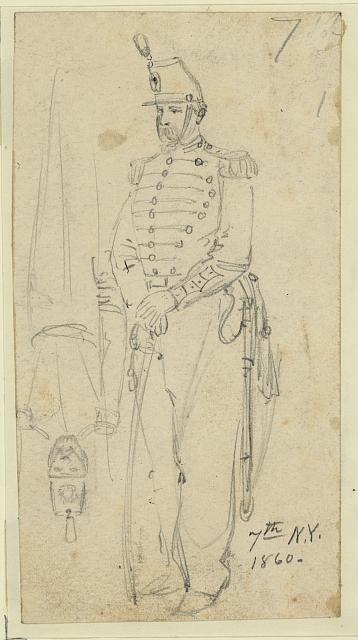 [Sketches of soldiers wearing the 7th New York Cavalry regiment uniform]