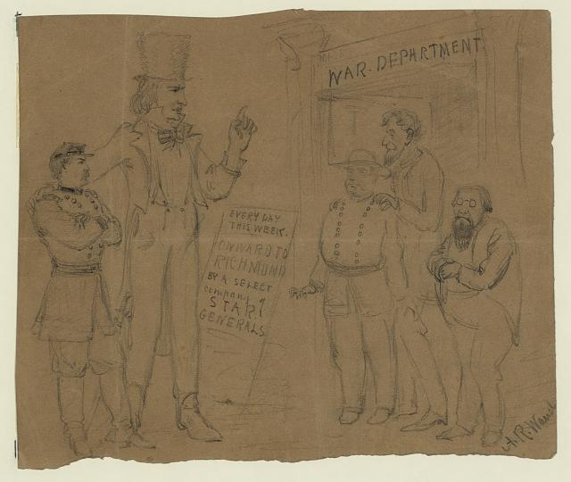 [Cartoon showing Uncle Sam and General McClellan standing before a playbill which reads: Every day this week onward to Richmond by a select company of star generals]