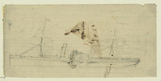 [Steamship with sidewheel and two masts]