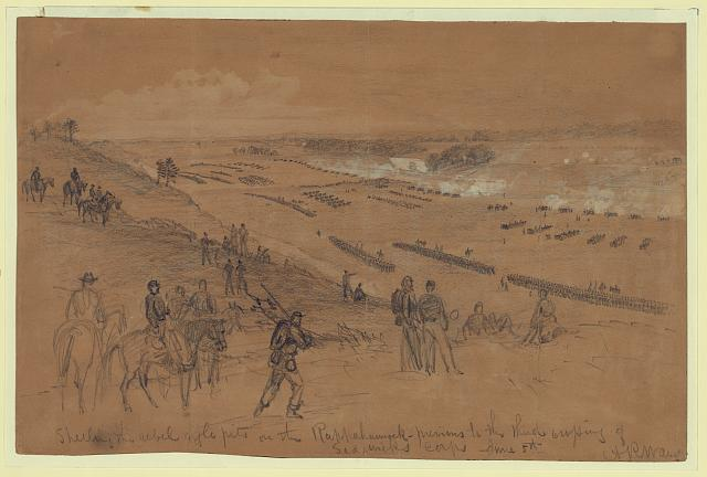 Shelling the rebel rifle pits on the Rappahannock--previous to the third crossing of Sedgwicks corps June 5th