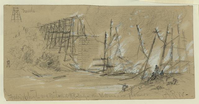 Fredericksburgh [sic] and Richmond RR Bridge over N. Anna, in flames