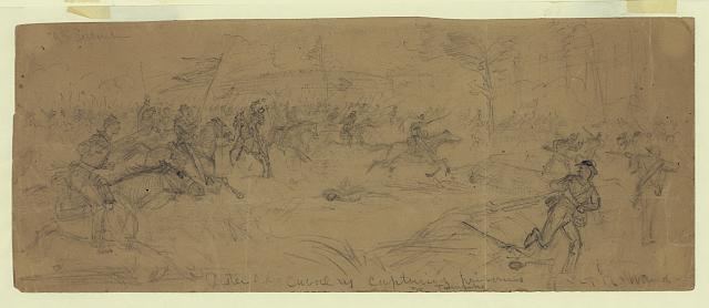 Custer's div. cavalry capturing prisoners nr. Turnpike