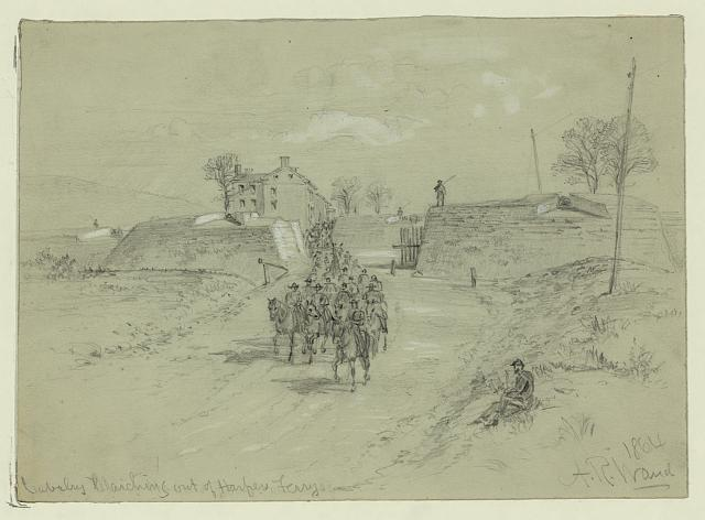 Cavalry marching out of Harpers Ferry