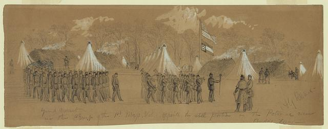 Guard Mount in the Camp of the 1st Mass. Vol. Opposite the rebel position on the Potomac near Budds Ferry