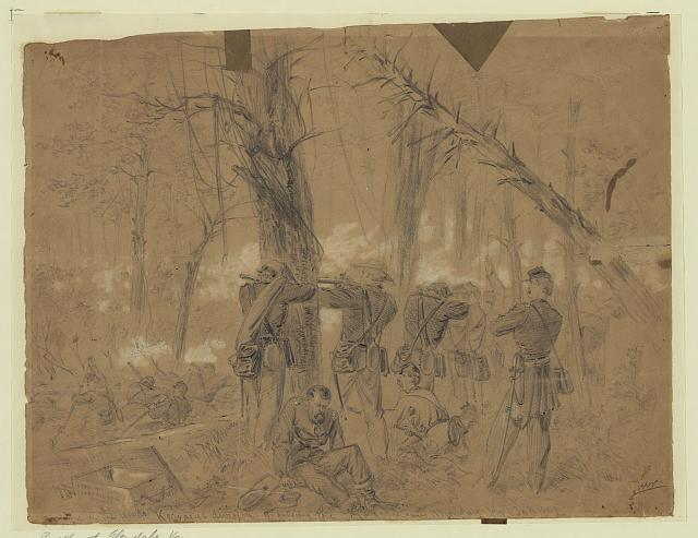 Fighting in the woods Kearneys division repulsing the enemy Monday June 30th 1862