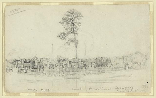 Camp of Hawkins Zouaves. Newport News. 1861