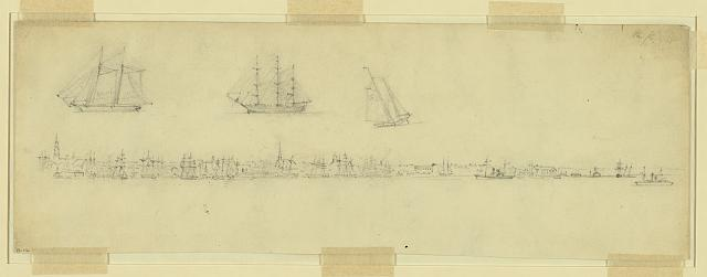 [Waterfront at Charleston, South Carolina, with sketches of three ships]